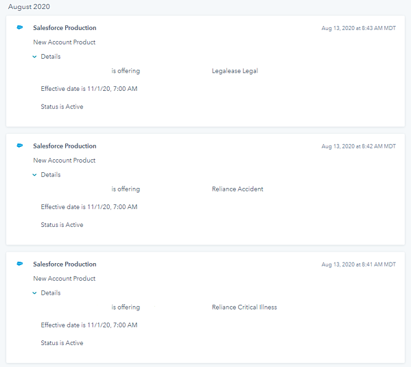 SFDC Timeline Object Screenshot