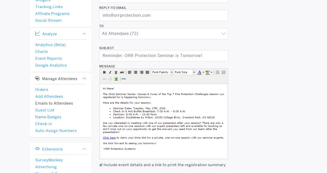 Eventbrite Email Reminder - Revenue River
