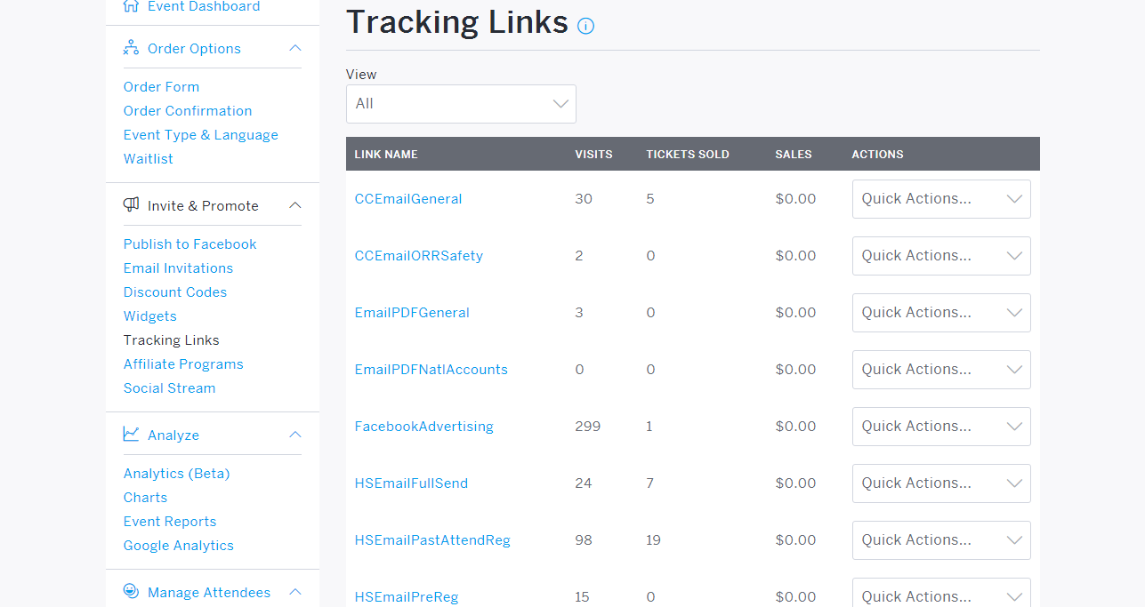 Eventbrite Tracking Links - Revenue River