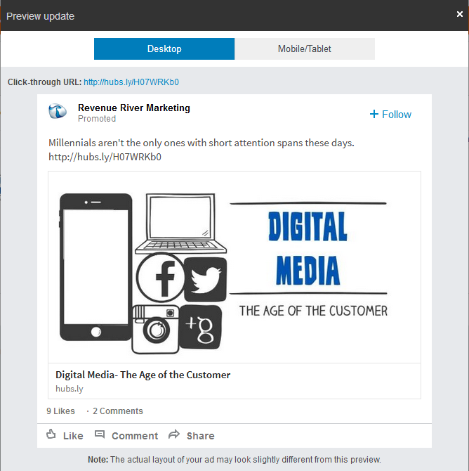 Linkedin Sponsored Ads Preview