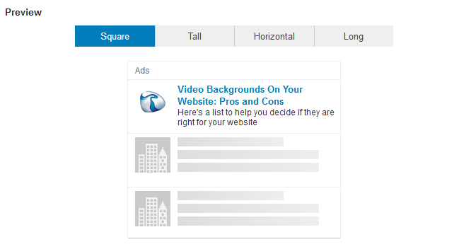 Linkedin Text Ads Preview