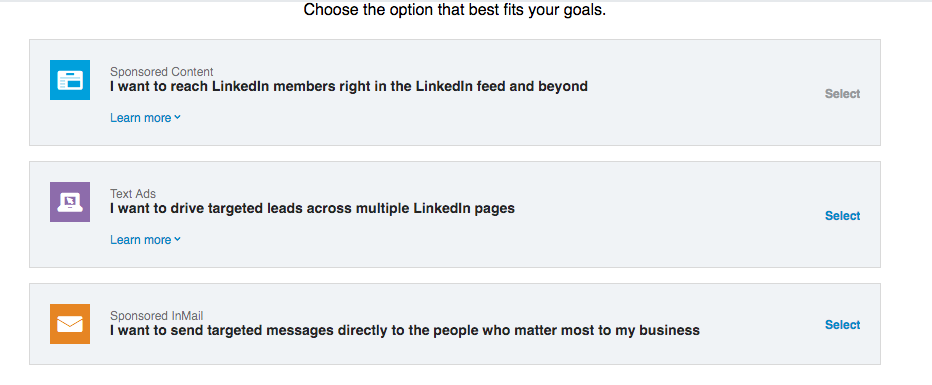 LinkedIn Ad Options