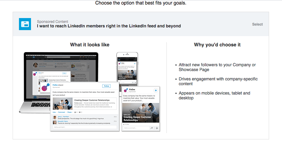 LinkedIn Create Sponsored