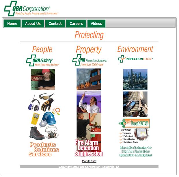 ORR Corporation's Old Website Design