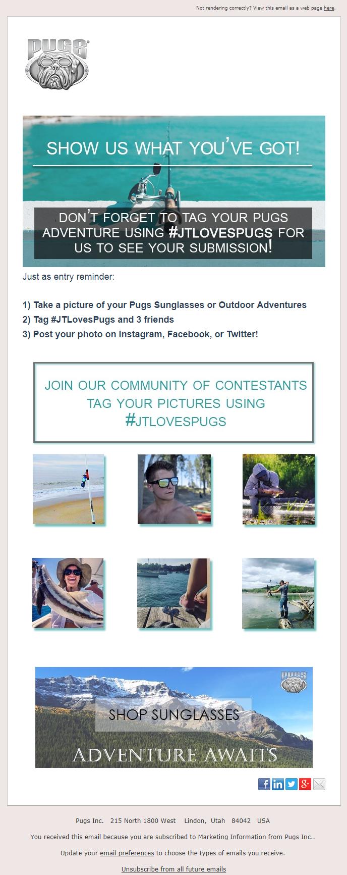 Joe Thomas Giveaway - PUGS Promotional Email