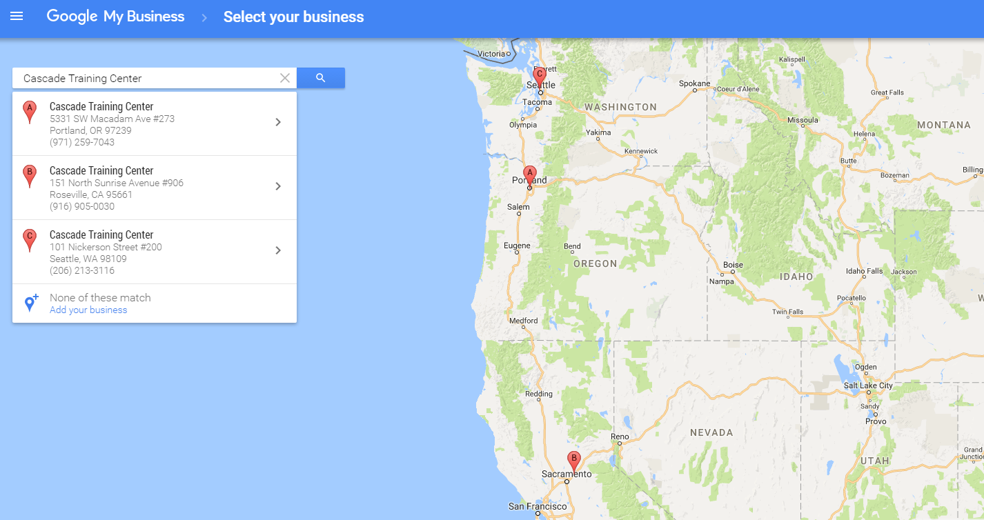 Cascade Training Locations in Google My Business