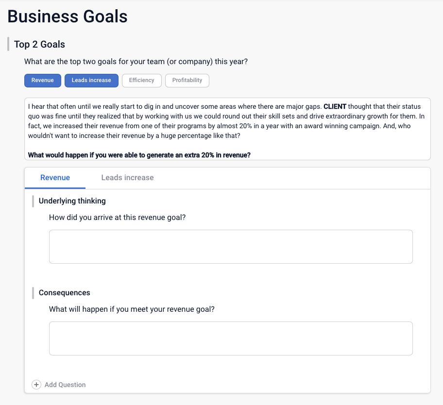 Costello Sales Playbook Business Goals