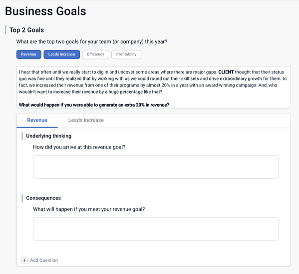 Costello Sales Playbook Business Goals