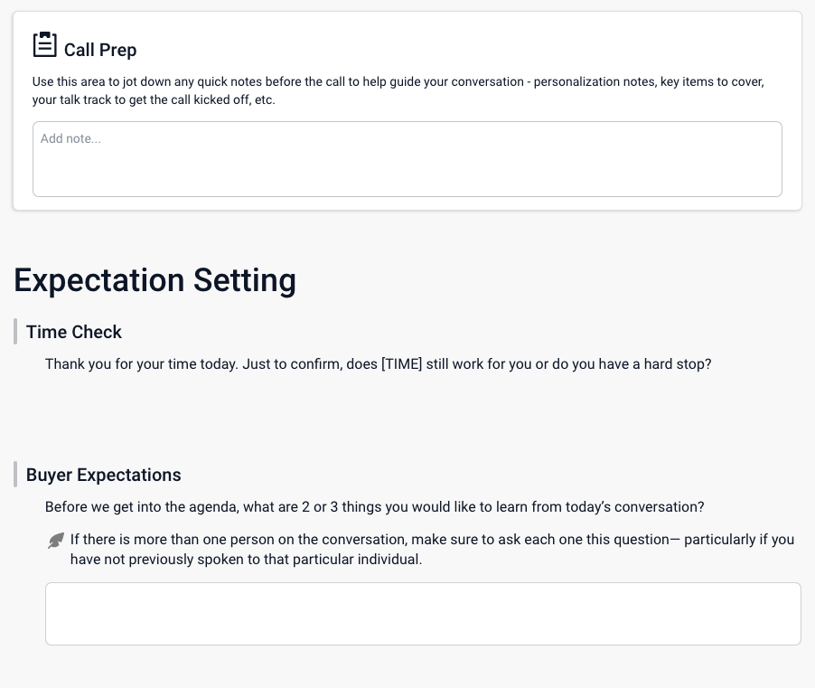 Costello Sales Playbook Expectation Setting