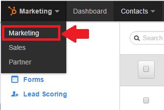 Hubspot marketing interface