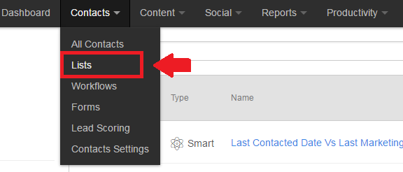 hubspot content drop down list tab