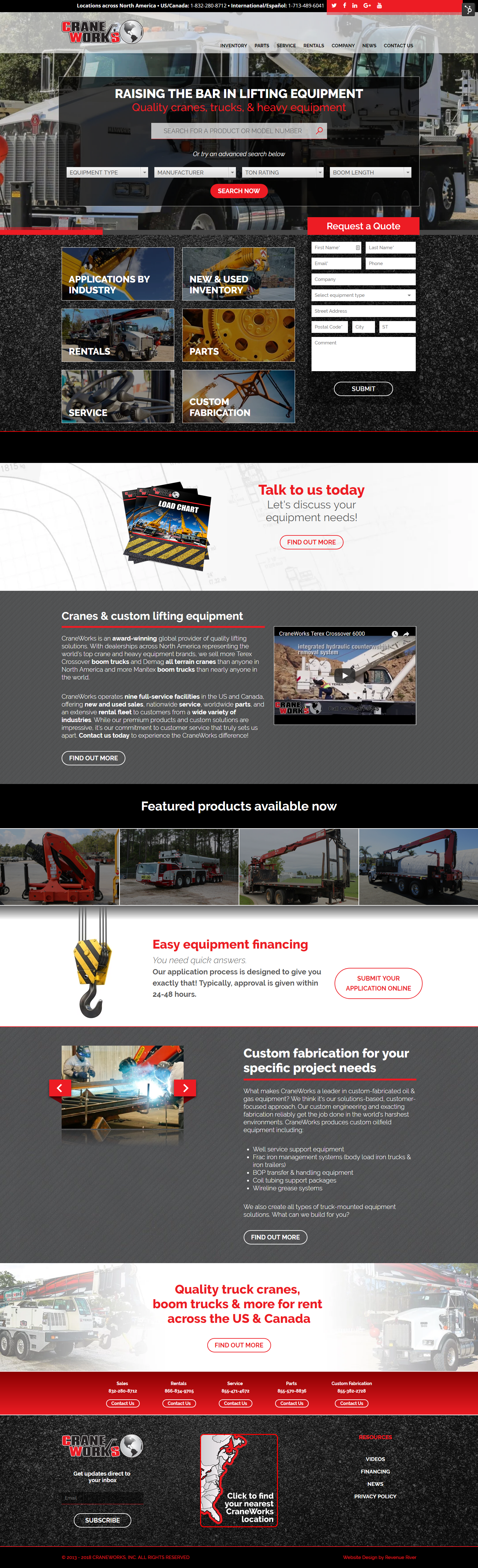 CraneWorks new homepage