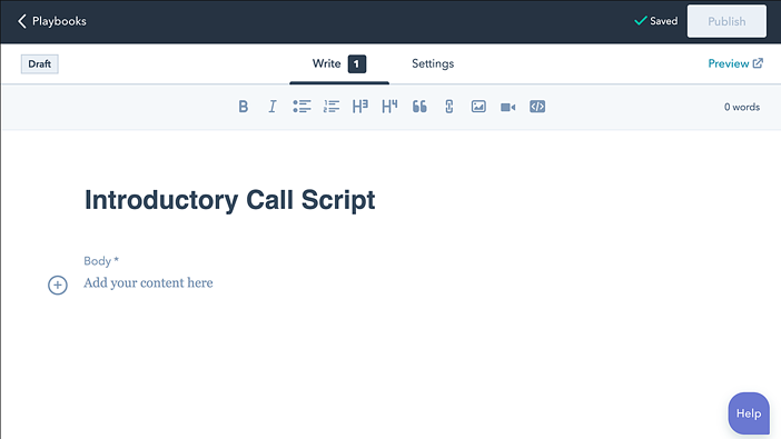 HubSpot playbooks call script