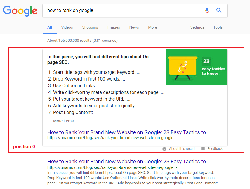 Position 0 in Search Engines Organic Results