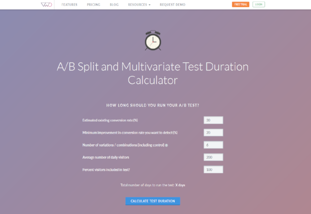 AB test duration calculator