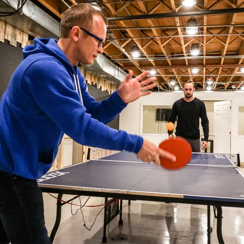 ping pong in the basement