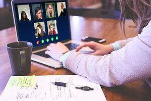 Video conference work from home meeting