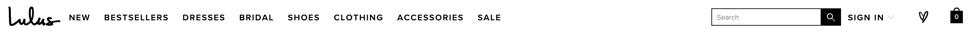 eCommerce Header Navigation Menu Example Lulus