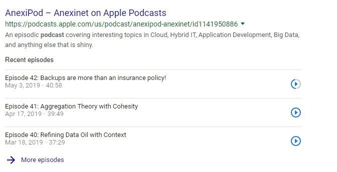 Google Podcast Knowledge Panel